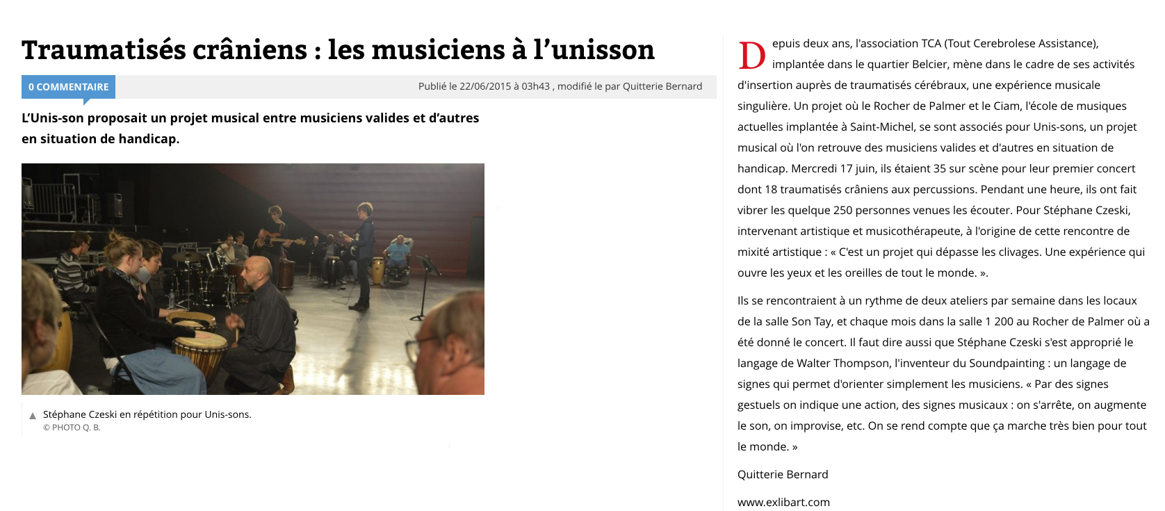 Article sud ouest 17 06 2015